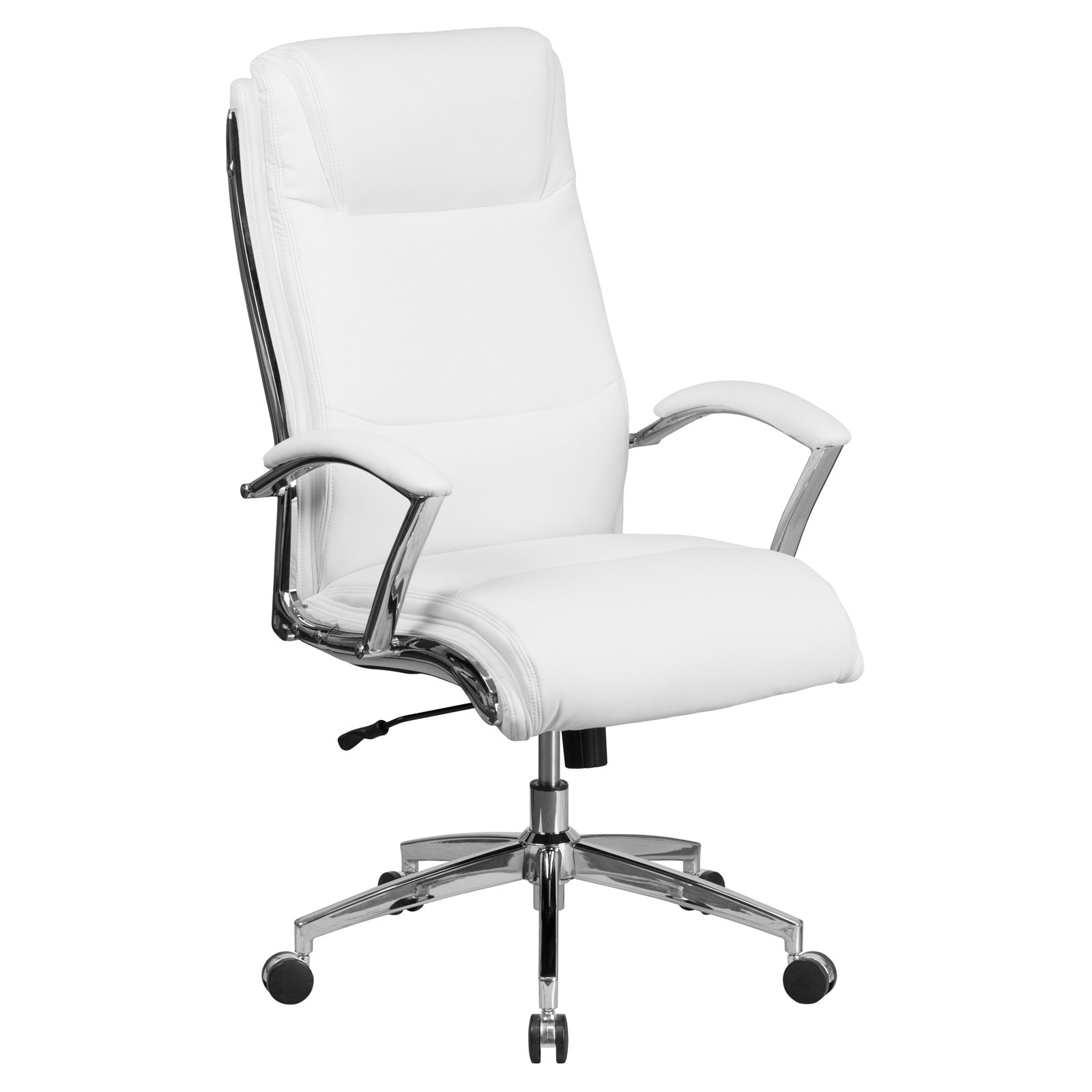 white leather executive chair. Flash Furniture High Back Designer White Leather Executive Swivel Office Chair With Padded Arms And Chrome