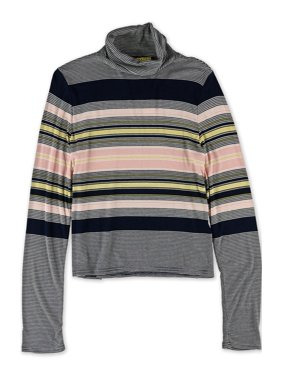 18321956c Product Image Aeropostale Juniors Striped Turtleneck Pullover Sweater