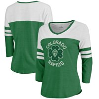 Colorado Rapids Fanatics Branded Women's St. Patrick's Day Luck Tradition Color Block Tri-Blend 3/4-Sleeve V-Neck T-Shirt - Heathered Green