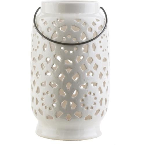 """11"""" Madison Links Ivory White Ceramic Large Pillar Candle Holder Lantern"""