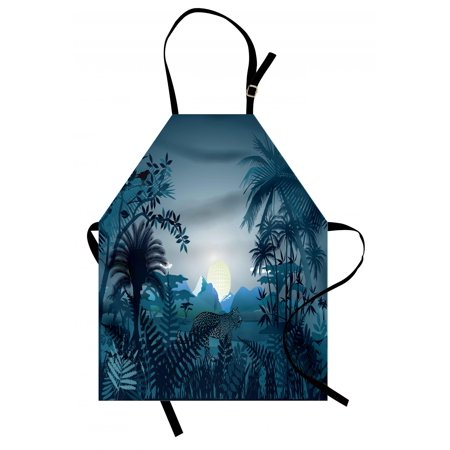 Jungle Apron Night in the Rainforest Jungle with Wild Tiger Animal Moonlight Palm Shrubs Hazy Graphic, Unisex Kitchen Bib Apron with Adjustable Neck for Cooking Baking Gardening, Teal, by