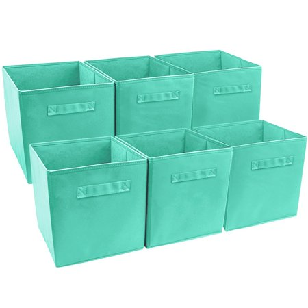 Foldable Storage Cube Basket Bin (6 Pack, Teal), FOLDABLE STORAGE CUBE (6 PACK, TEAL) — Foldable basket set provides attractive, lightweight solutions to many storage.., By (Teak Cube)