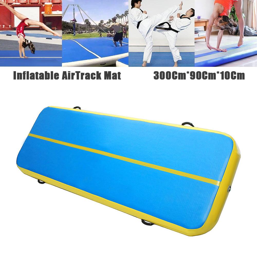 300*90*10Cm Airtrack Inflatable Air Track Home Gymnastics Tumbling Yoga GYM Taekwondo Cheerleading Landing Exercise Training Floor Mat Cushion & Pump