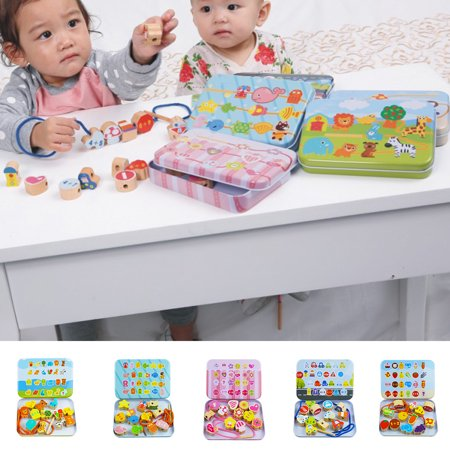 Cartoon Animal Fruit Blocks Set Wooden Stringing Beaded Toys Children Learning Education Colorful Products Kids Toy - image 3 de 8