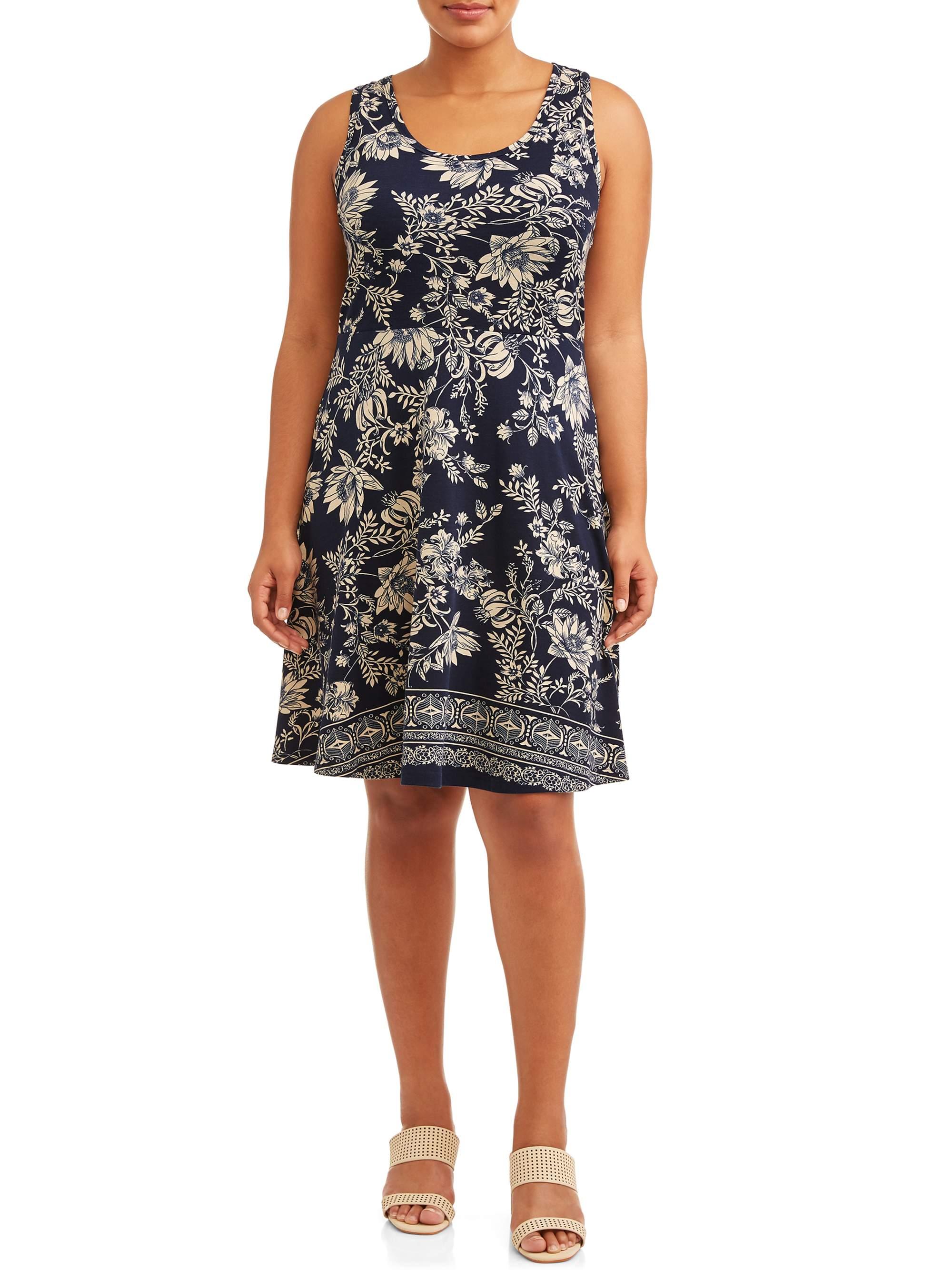 Women's Plus Size Printed Tank Knit Skater Dress