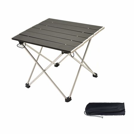 Emovendo Small Lightweight Foldable Camping Table with Aluminum Top Compact Roll Up Table with Carrying Bag for Outdoor Picnic Camping Fishing Boating BBQ Beach ()