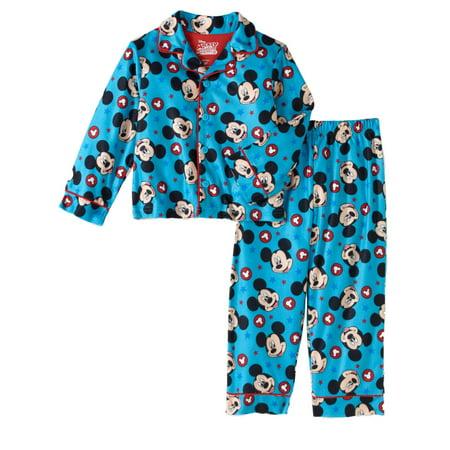 Disney Mickey Mouse Toddler Boys Blue Flannel Sleepwear Coat Style Pajama Set (Pj Jacket)
