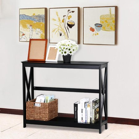 Yaheetech 2 Tier X Design Hallway Large Console Table Entryway ...