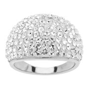 Dome Ring with Swarovski Crystals in Sterling Silver