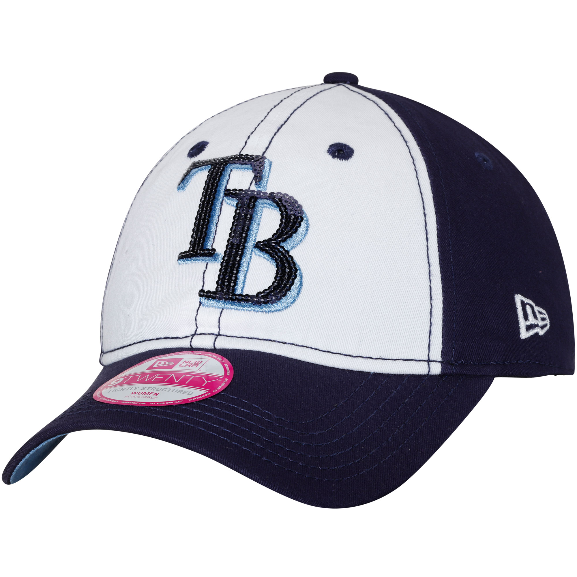 Tampa Bay Rays New Era Women's Team Glimmer 9TWENTY Adjustable Hat - White/Navy - OSFA