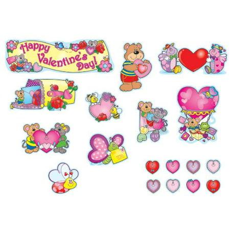 Carson Dellosa Valentine's Day Bulletin Board Set (110060), 10 Valentine-themed vignettes, largest approx. 11.5