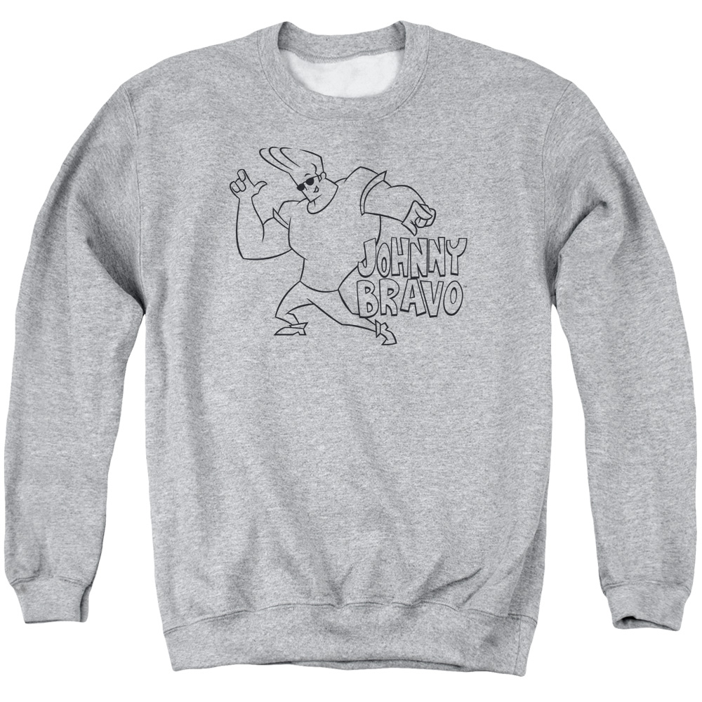 JOHNNY BRAVO/JB LINE ART - ADULT CREWNECK SWEATSHIRT - ATHLETIC HEATHER - 3X