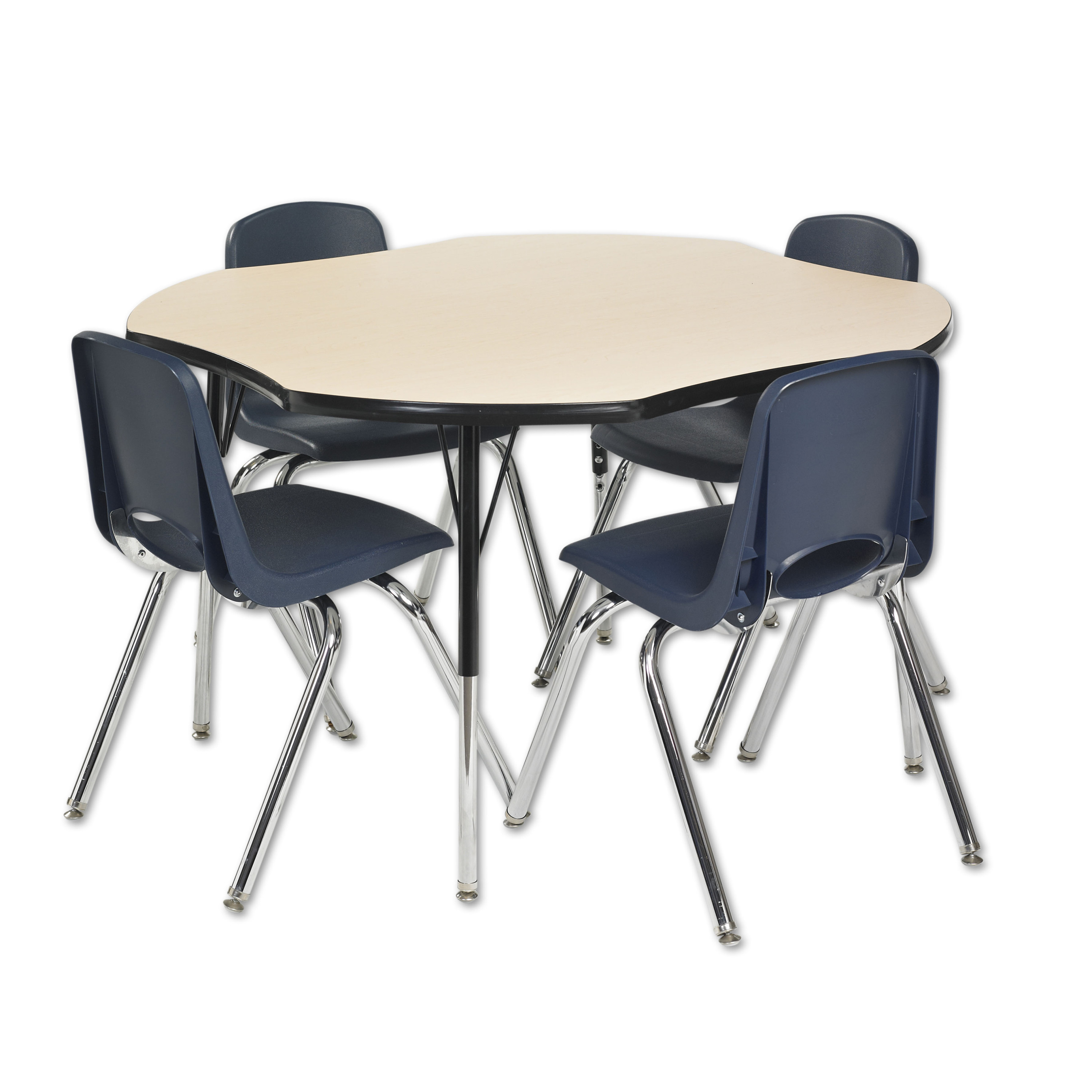 48in Clover Everyday T-Mold Adjustable Activity Table Grey/Navy - Standard Swivel with Four 18in Stack Chairs Navy - Swivel Glide
