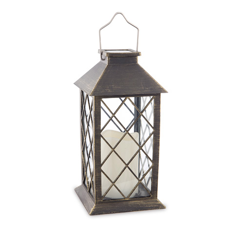 Brushed Gold & Black Solar Powered LED Candle Lantern: 10.8 inches