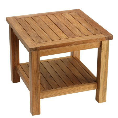Bare Decor Turi Side Table With Shelf In Solid Teak Wood Square 20