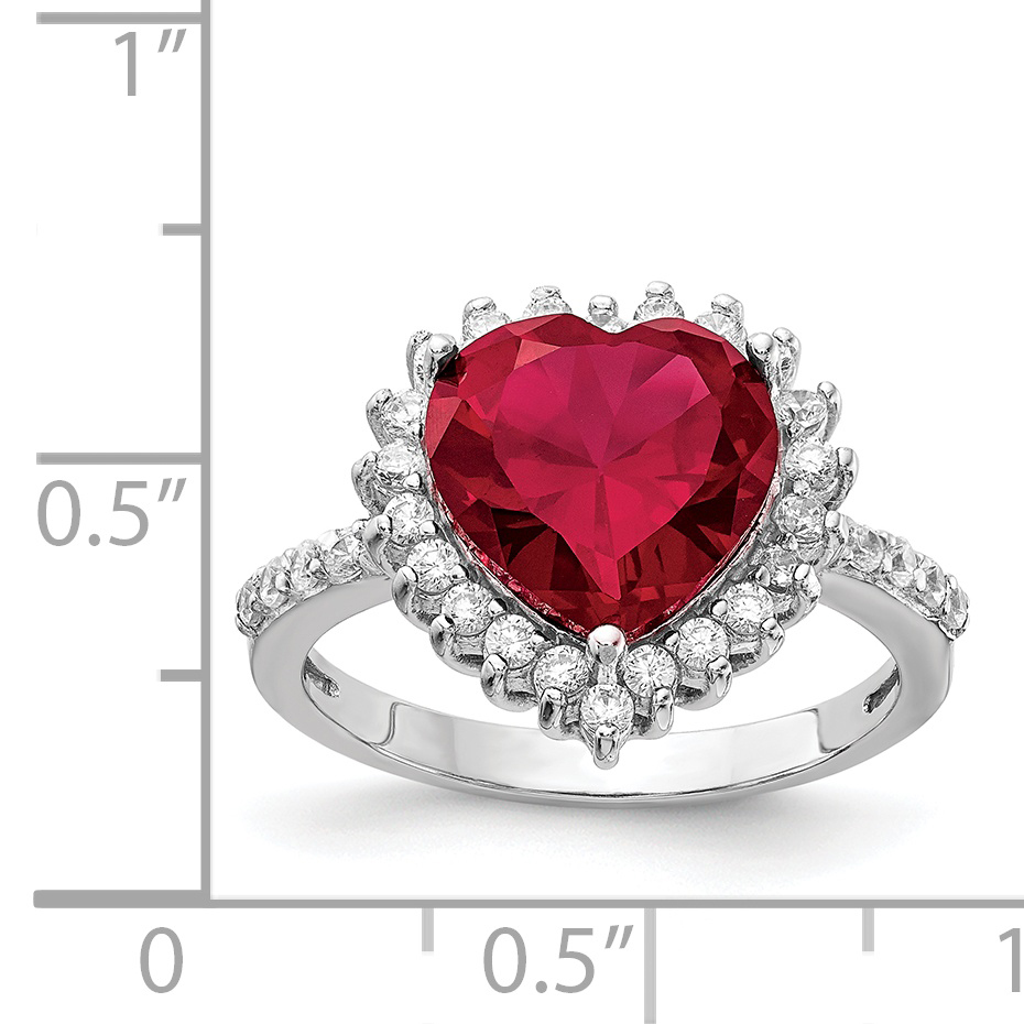 925 Sterling Silver 100 Facet Created Red Ruby Cubic Zirconia Cz Heart Band Ring Size 7.00 S/love Gemstone Fine Jewelry Gifts For Women For Her - image 2 of 3