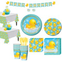 Rubber Ducky Baby Shower Tableware Kit for 16 Guests, with Table Covers