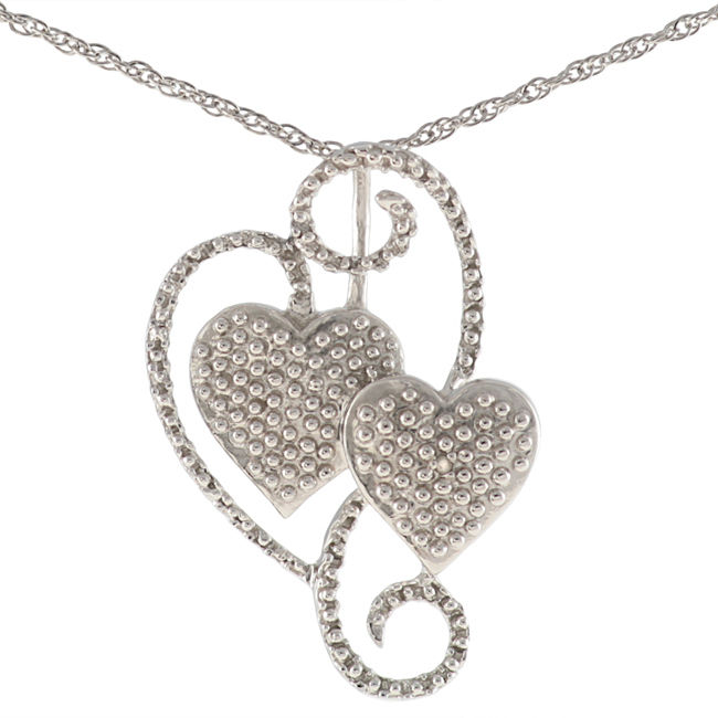 Maddy Emerson  Sterling Silver Diamond Double Heart Necklace