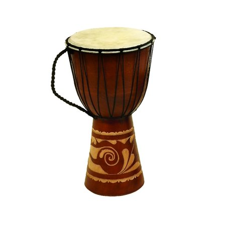 DecMode 16 Inch Traditional Wood and Leather Djembe Drum Decor