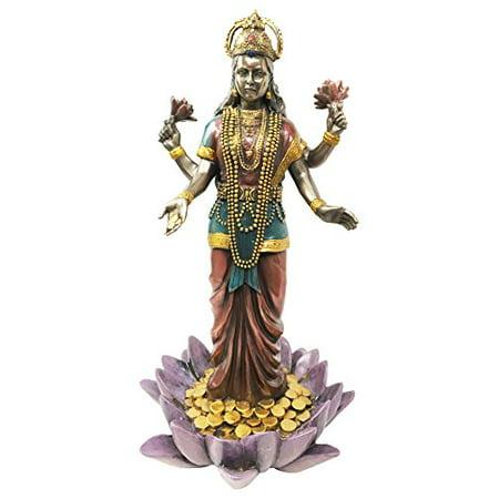 Hindu Goddess Of Good Fortune Abundant Life Lakshmi Standing On Lotus Figurine Spiritual Well Being Sculpture