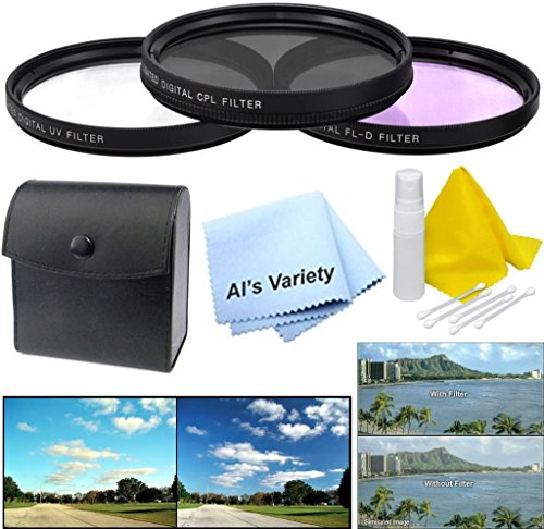 62mm 3-Piece Multiple Coated Filter Kit (UV, CPL, FLD) for Panasonic Lumix DMC-FZ1000 + Microfiber Cleaning Cloth