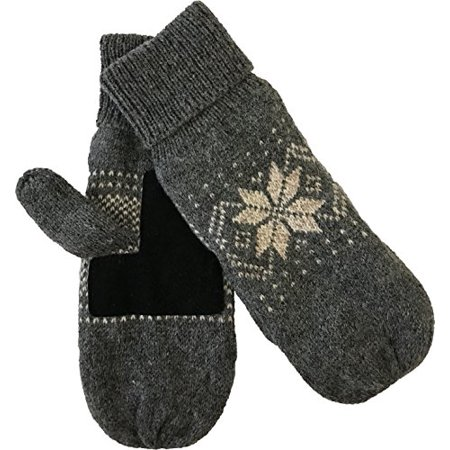 Mens Ragg Wool Mitten With Suede Gripper Palm & Fleece Lined Insulation (Charcoal)