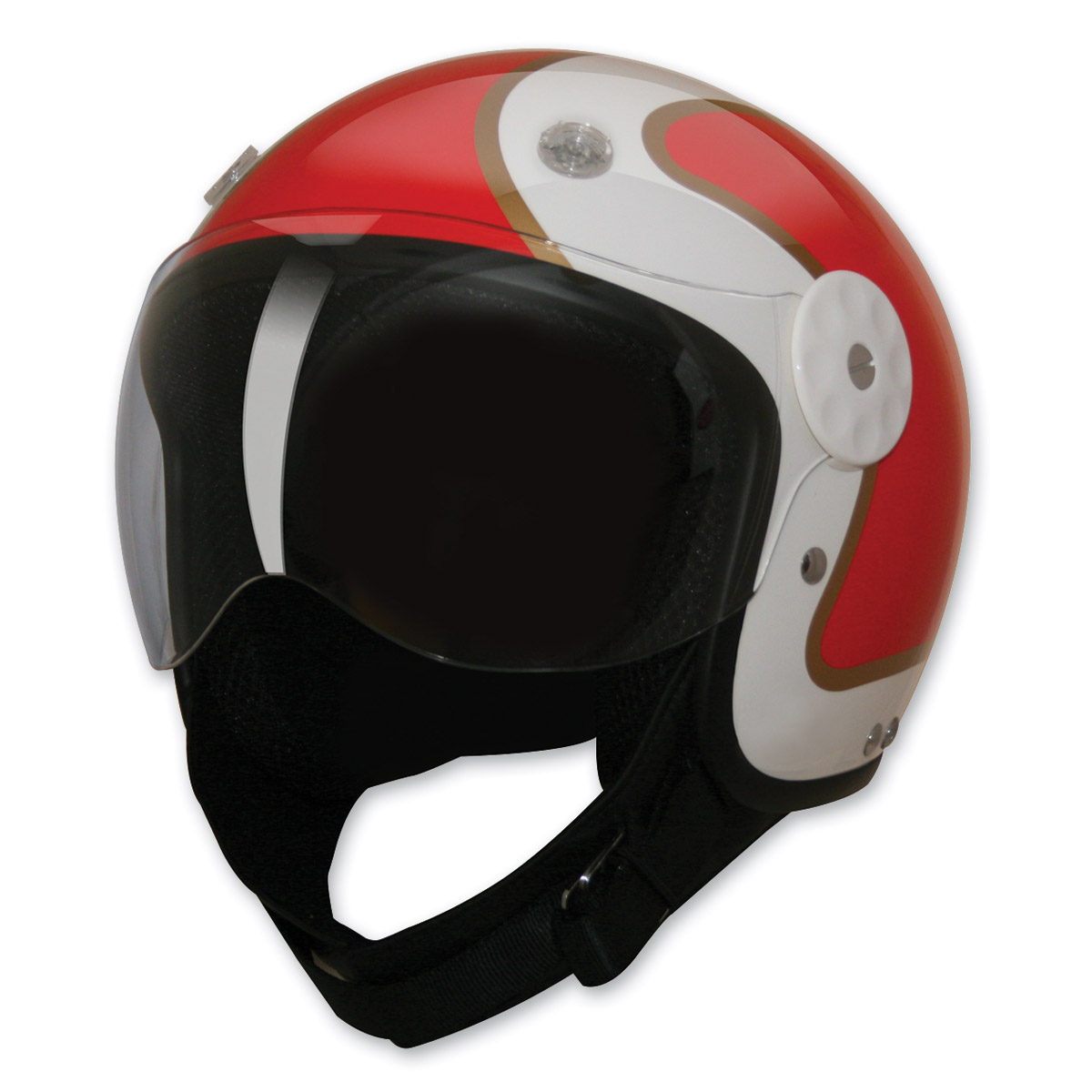 HCI-15 Stripe Red and Gold Open Face Helmet, L