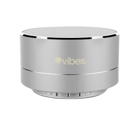Vibes TAB - Metallic Portable Bluetooth Mini Wireless Speaker - IPX4 rated Water Resistant - HD voice ready - Light weight - Suspension Lighting Effect (Silver) - Metallic Silver Audio