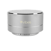 Vibes TAB - Metallic Portable Bluetooth Mini Wireless Speaker - IPX4 rated Water Resistant - HD voice ready - Light weight - Suspension Lighting Effect (Silver)