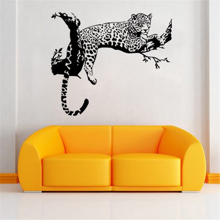 Leopard Wall Mural (Large Tiger Leopard Mural Removable Wall Sticker Art Vinyl Decal Room Home Decor)