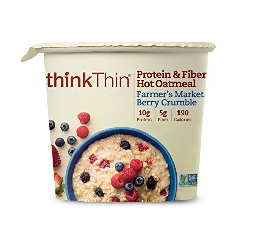 thinkThin Protein and Fiber Oatmeal, Farmer's Market Berry Crumble, 6 Count
