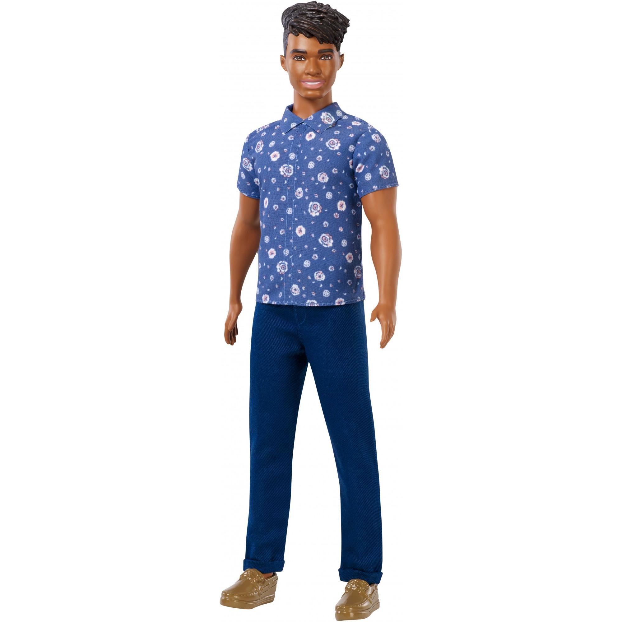 Barbie Ken Fashionistas Doll, Broad Body Type Wearing Blue Floral Top