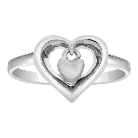 Sterling Silver White Rhodium, Double Heart Design Ring Dangling Heart Within a Heart ()