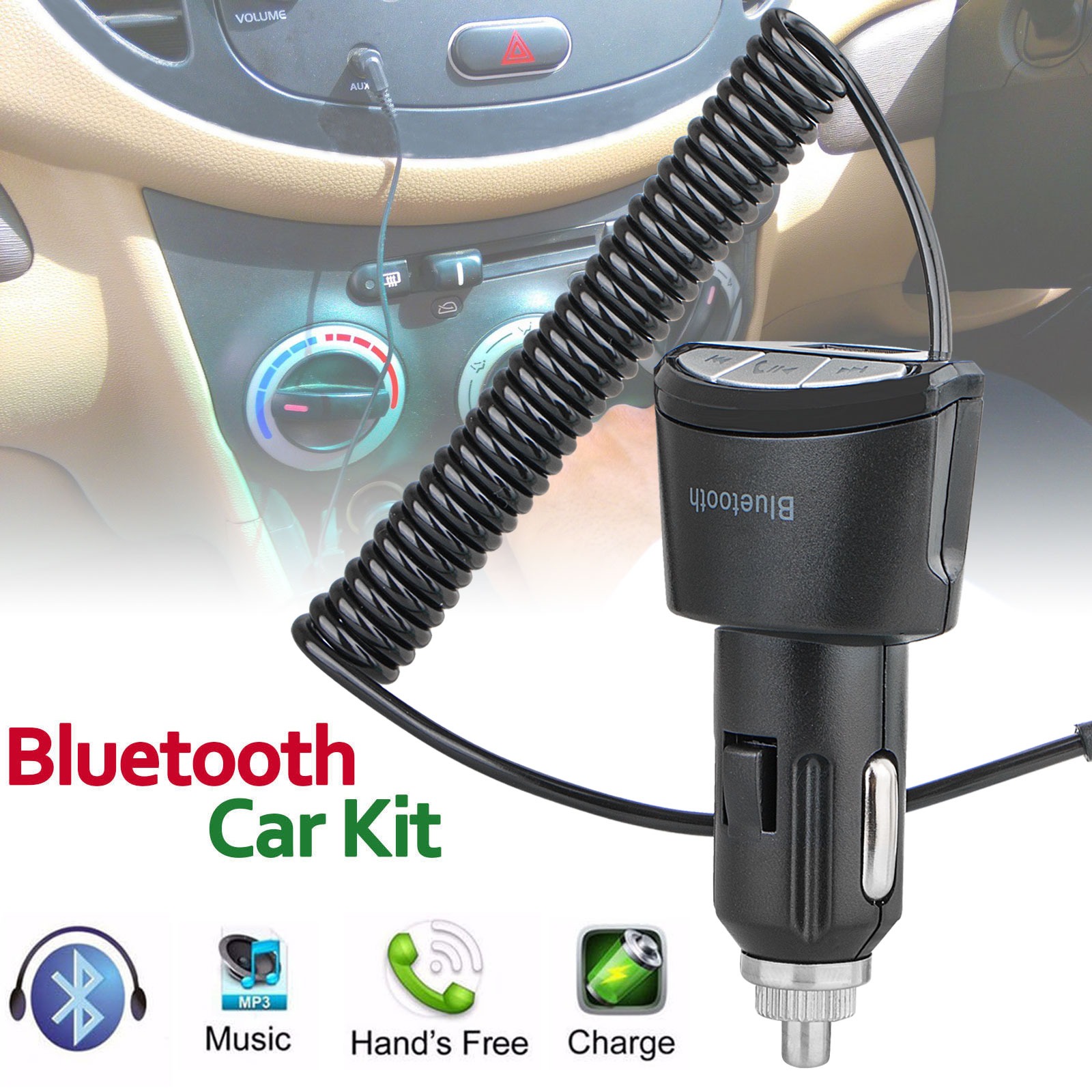 3.5mm Car AUX Adapter Bluetooth Wireless Music Receiver Handsfree for iPhone Samsung