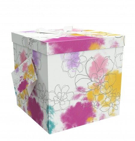 """Gift Box 12""""L x 12""""W 12""""H - Easy to Assemble & Reusable - No Glue Required - Ribbon, Tissue Paper, and Gift Tag Included - Carmen Collection - EZ Gift Box by Endless Art US"""