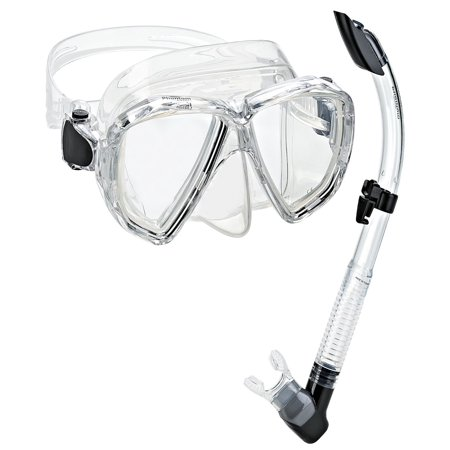 Phantom Aquatics Velocity Scuba Snorkeling Mask Snorkel Set, Clear