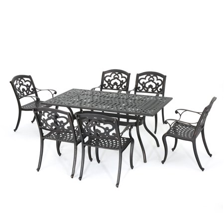 Augusta Outdoor 7-Piece Cast Aluminum Dining Set, Shiny Copper Finish