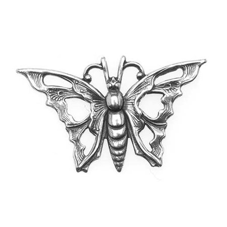 Art Nouveau Plate (Antiqued Silver Plated Stamping Art Nouveau Butterfly 35mm)
