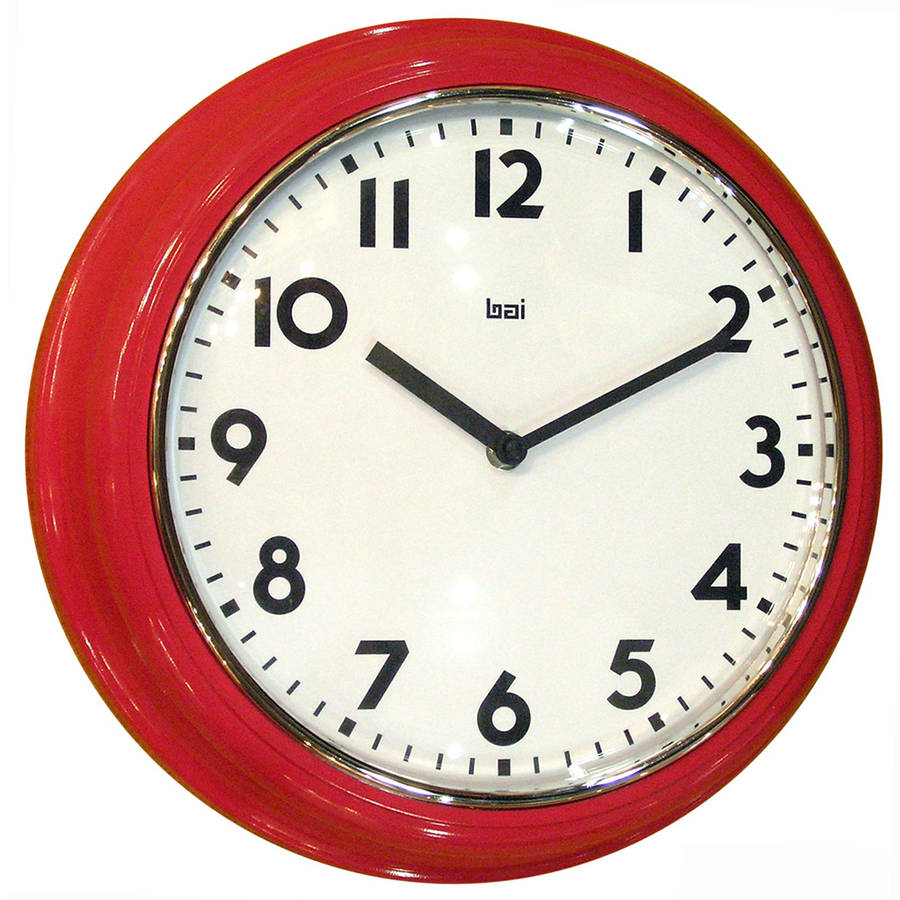 "Bai Retro Modern 12"" Round Wall Clock, Red"