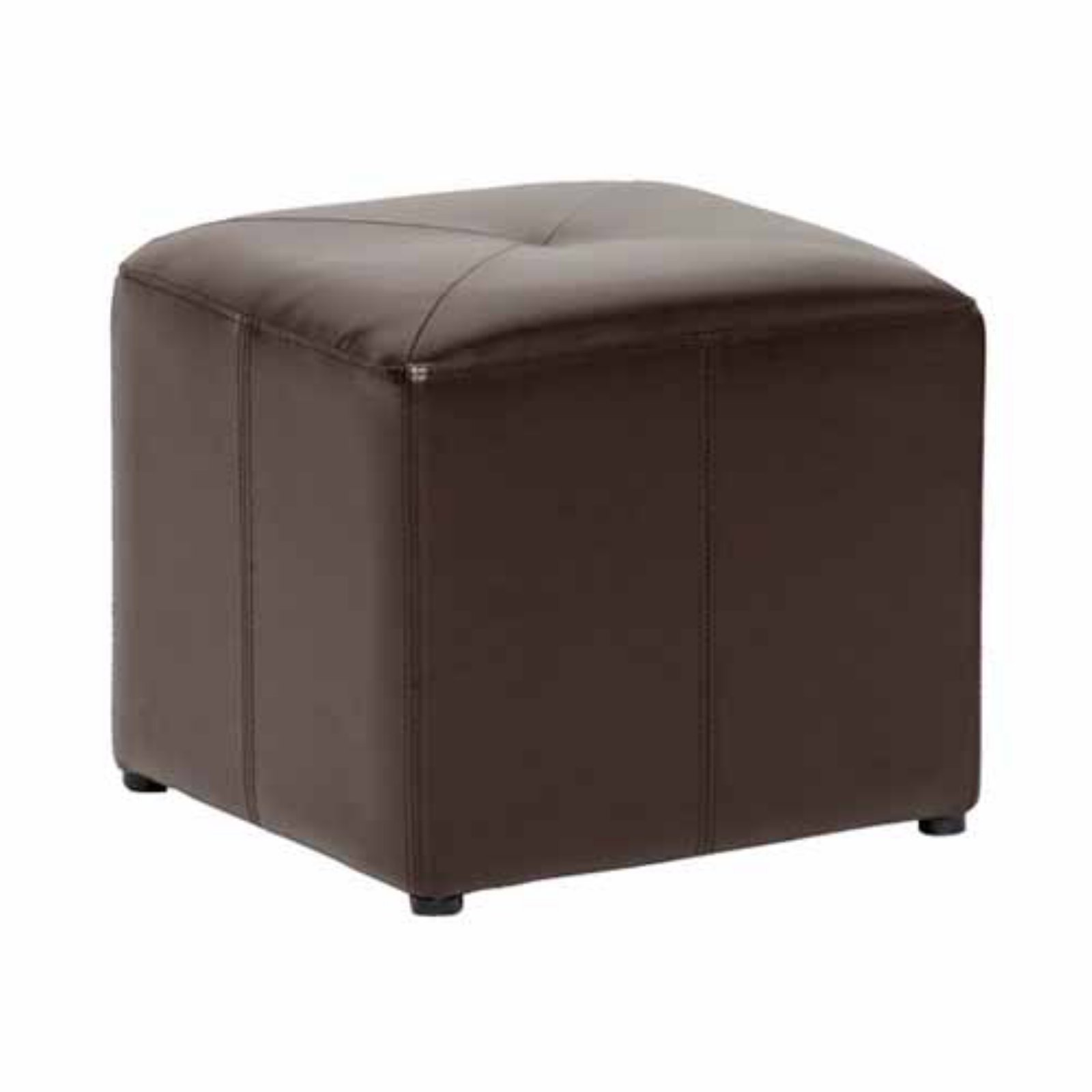 Baxton Studio Pebbles Cube Leather Ottoman Dark Brown by Baxton Studio