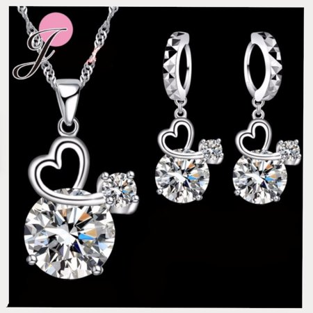 Ss Round Pendant - Sterling Silver Round Stone with Heart-Shaped Necklace and Pendant Jewelry J-Set, SS-112