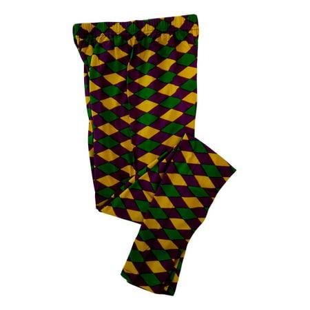 Ladies Diamond Purple Green Yellow Mardi Gras 1X/2X Legging Soft - Mardi Gras Pants