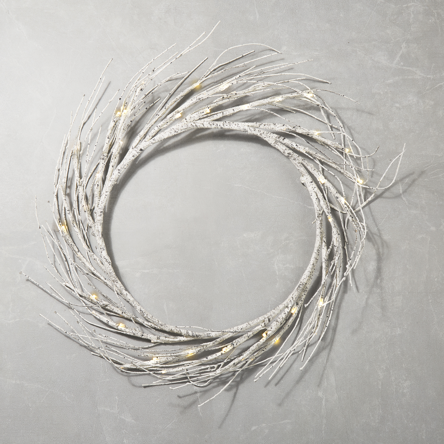 """christmas birch branch twig wreath with lights 