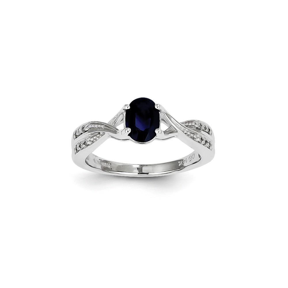 14k White Gold Oval Sapphire and Diamond Gemstone Ring. Carat Wt- 0.06ct