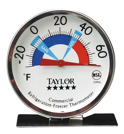 Taylor Precision 5996N 5* Commercial Refrig / Freezer Dial Thermometer