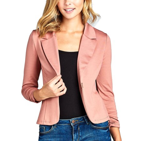 Womens Classic 3/4 Shirring Sleeve Solid Color Casual Blazer Classic Tailored Blazer