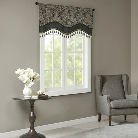 Home Essence Valerie Jacquard Window Rod Pocket Valance With Beads ()