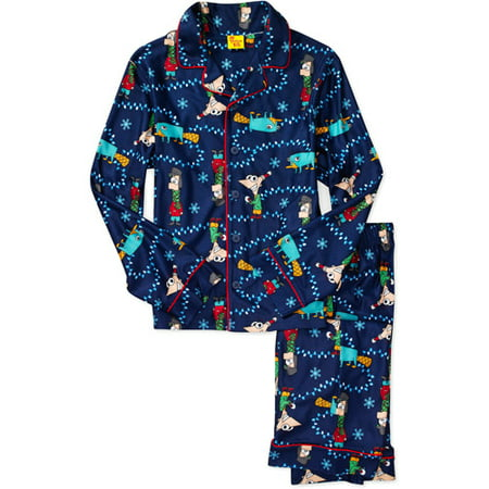 Disney - Boys' Phineas and Ferb 2-Piece Button Down Pajamas ...