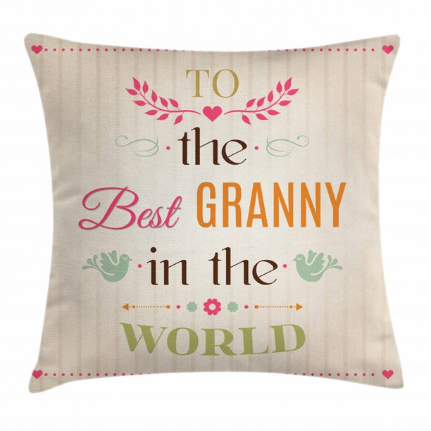 Grandma Throw Pillow Cushion Cover Best Granny Quote With Bird Silhouettes Leaves And Arrows On Stripes Background Decorative Square Accent Pillow Case 20 X 20 Inches Multicolor By Ambesonne Walmart Com Walmart Com