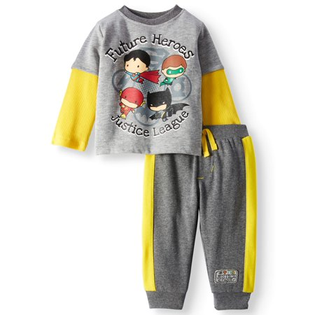 Justice League Baby Boys' Layered Long Sleeve T-Shirt and Jogger Pants, 2-Piece Outfit Set
